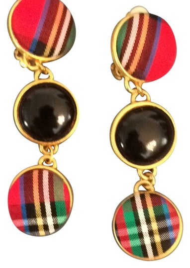 Preload https://item5.tradesy.com/images/express-red-plaidblack-trimmed-in-gold-triple-drop-dangle-earrings-5858299-0-0.jpg?width=440&height=440