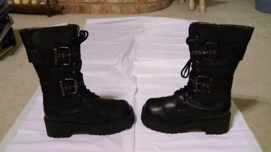 Cr8zy Zippers Buckles Brand New Never Worn Combat Black Boots