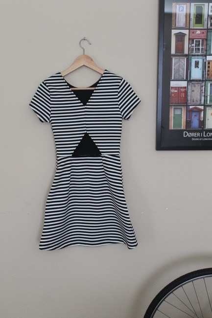 Topshop Striped Black And White Dress