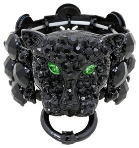 Other Black Leopard Green Eyed Tiger Crystal Stretchable Cuff Bracelet