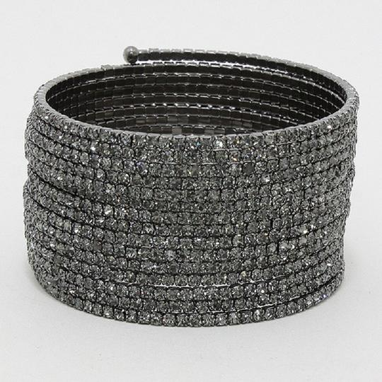 Other Black Crystal And Rhinestone Wrap Around Coil Bling Cuff Bracelet Image 1