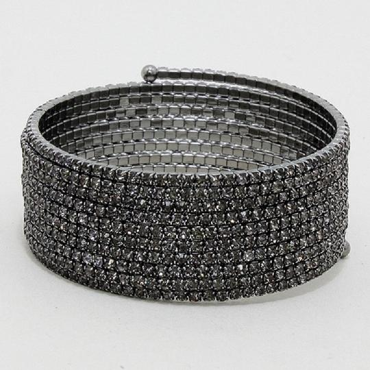 Other Black Crystal And Rhinestone Wrap Around Coil Bling Cuff Bracelet Image 2