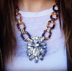 Tortoise Crystal Pendant Statement Necklace