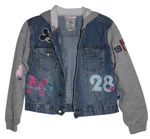 Walt Disney World Kids Disney Child's Denim with Gray Sweatshirt Sleeves Womens Jean Jacket