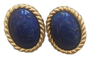 Dior Christian Dior Lapis Cabachon Gold Tone Clip On Earrings