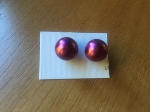 Other Preppy Purple Faux Pearl Earrings NWOT
