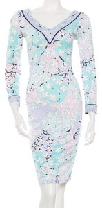 Emilio Pucci White Multicolor Print Floral Silk Longsleeve V-neck Midi 38 4 Small S Xs New Dress