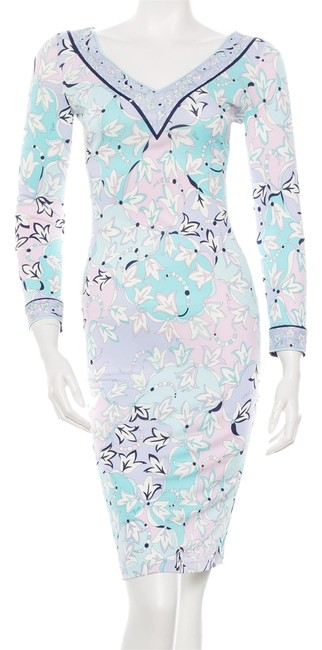 Emilio Pucci White Multicolor Print Floral Silk Sundress Longsleeve V-neck Midi 38 4 Small S Xs New Dress