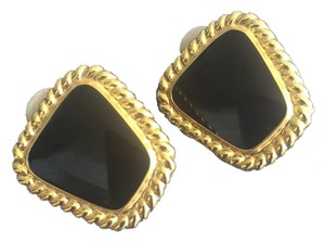 Black and Gold Tone Clip On Earrings