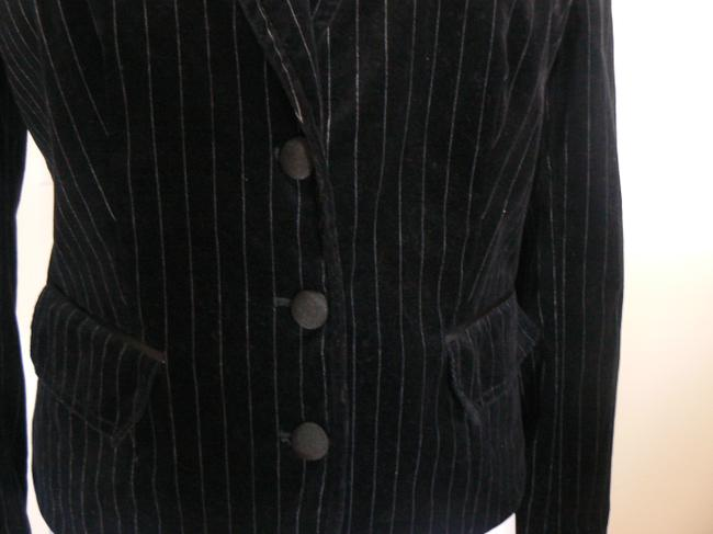 Tommy Hilfiger Long Sleeves Jacket 3 Front Buttons Velvet Black/White Stripes Blazer