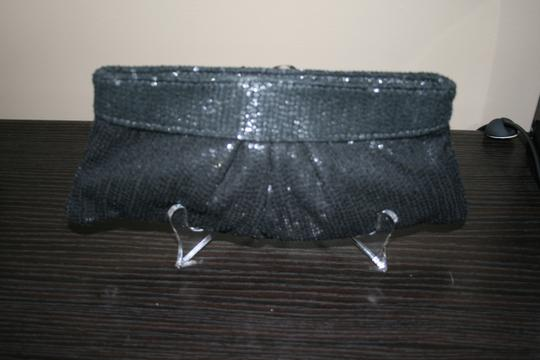 Lauren Merkin Sequin Evening Formal Black Clutch Image 4