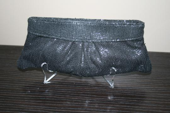 Lauren Merkin Sequin Evening Formal Black Clutch Image 5