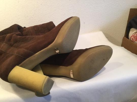 Gucci Leather Small Platform Made Italy Brown suede logo fleece lined Italian knee Boots