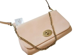 Coach Convertible Leather Turnlock Chain Strap 3 Way Cross Body Bag