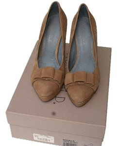 Rosegold Shoes Suede Platform Tan Pumps