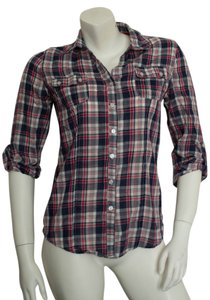 Ambiance Apparel Flannel Long Sleeve Quarter Sleeve Button Up Grunge Punk Hipster Cotton Polyester Fitted Deep V V-neck Deep V-neck Button Down Shirt red, white, blue plaid