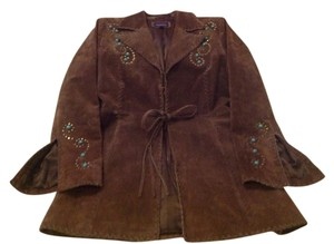 Roper Leather Suede Blazer Jeweled Toffee Leather Jacket