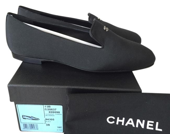 Item - Black 2015 Fabric Loafers with Cc Logo Euro Formal Shoes Size US 8 Wide (C, D)