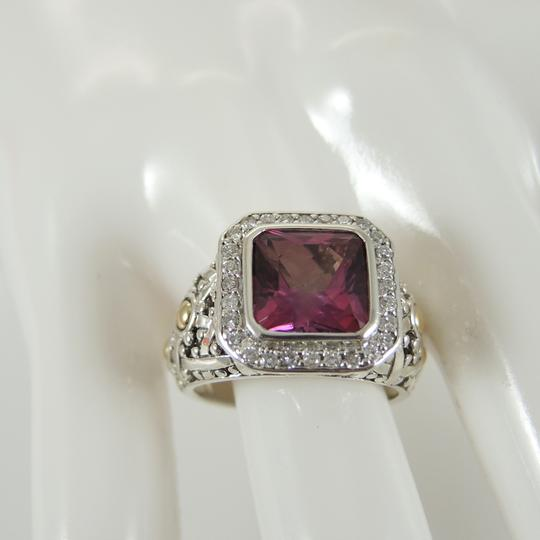 John Hardy John Hardy Sterling Silver 18K Yellow Gold .25tcw Mystic Pink Topaz Pave Diamond Batu Sari Small Square Ring - Retail $1895