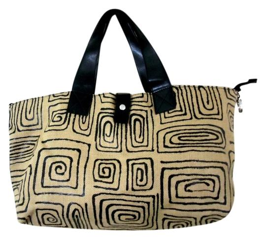ALDO Geo Design Tote in Natural Linen & Black
