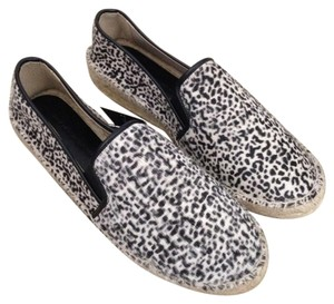 Zara Calf Hair Leather Espadrilles Leopard Print Flats