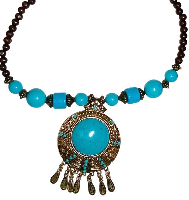 Item - Turquoise Brown Bronze Bohemian Style J1260 Necklace