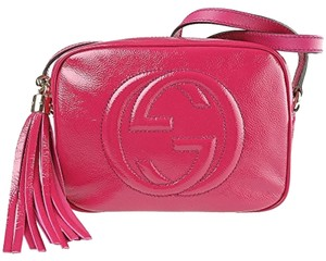 Gucci Soho Strap Fuschia Zip Closure Cross Body Bag