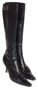 Dior Christian Logo Leather Knee High Zip Up Black Boots