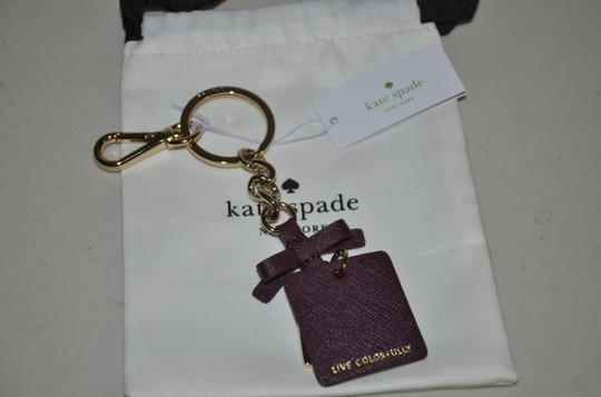 Kate Spade KATE SPADE CUT OUT SPADE KEY RING CHAIN FOB PURSE CHARM BAG PLUM GOLD Image 2