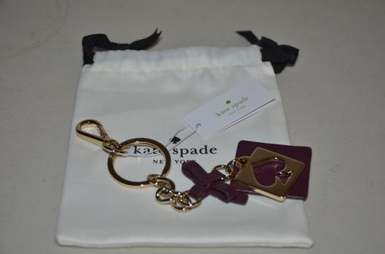 Kate Spade KATE SPADE CUT OUT SPADE KEY RING CHAIN FOB PURSE CHARM BAG PLUM GOLD Image 3