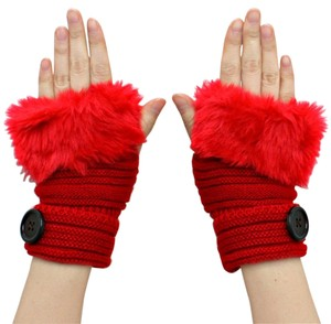 Red Knitted Fur Trimmed Fingerless Button Accent Gloves
