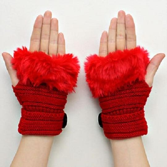 Other Red Knitted Fur Trimmed Fingerless Button Accent Gloves Image 1