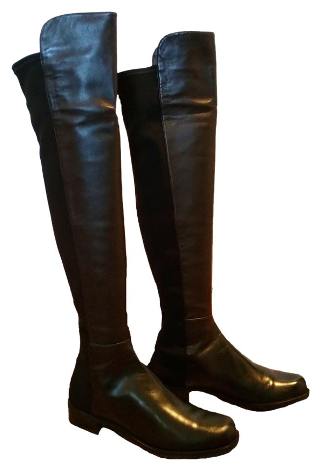 41f893d0bcf Stuart Weitzman 5050 Stretch Over The Knee Black Nappa Leather Boots Image  0 ...