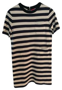 Marni short dress Navy/Creme stripe with pinkish red dots on Tradesy