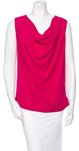 Yigal Azrouël Cowlneck Silk Top Pink Red