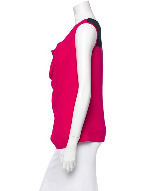 Yigal Azrouël Cowlneck Silk Top Pink Red Image 1