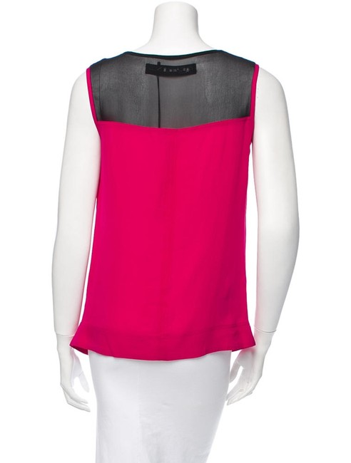 Yigal Azrouël Cowlneck Silk Top Pink Red Image 2