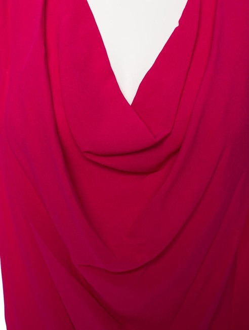Yigal Azrouël Cowlneck Silk Top Pink Red Image 3