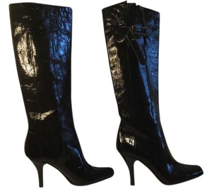 Jimmy Choo Stack Wood Heels Square Toe Made Italy Black patent all leather pull on Italian E39 knee Boots