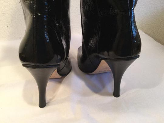 Jimmy Choo Stack Wood Heels Square Toe Made MAJOR PRICE REDUCTION Black patent all leather pull on Italian E39 knee Boots