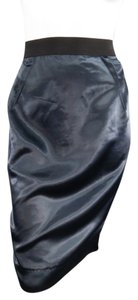 Lanvin Structured Satin Zipper Exposed Skirt Navy