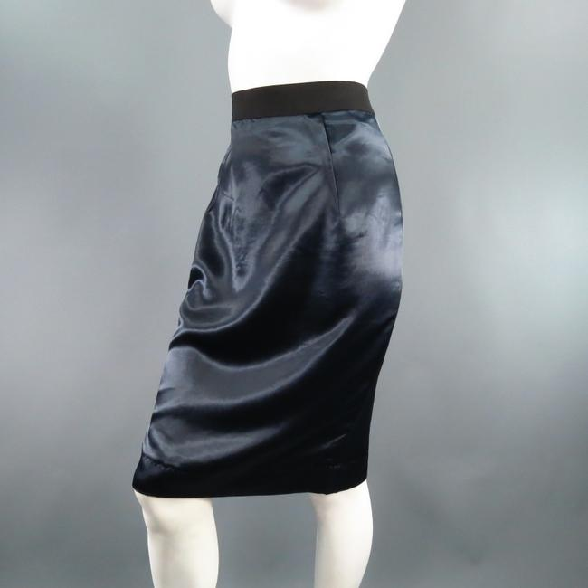 Lanvin Structured Satin Zipper Exposed Skirt Navy Image 1
