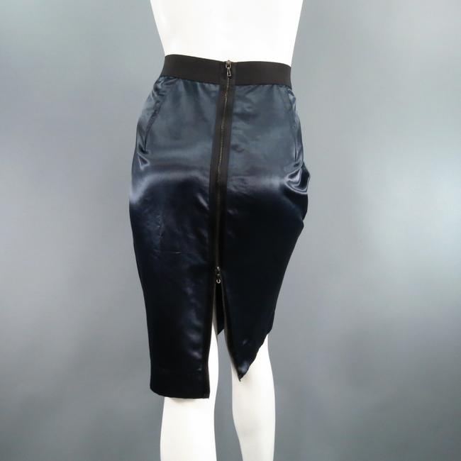 Lanvin Structured Satin Zipper Exposed Skirt Navy Image 2