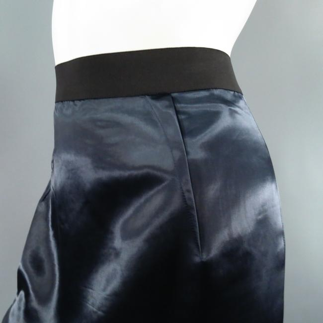Lanvin Structured Satin Zipper Exposed Skirt Navy Image 3