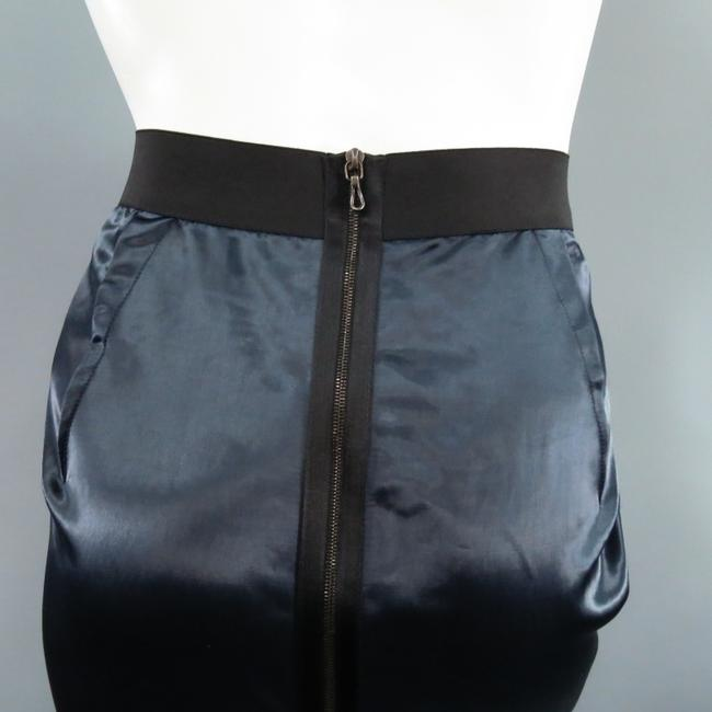Lanvin Structured Satin Zipper Exposed Skirt Navy Image 4
