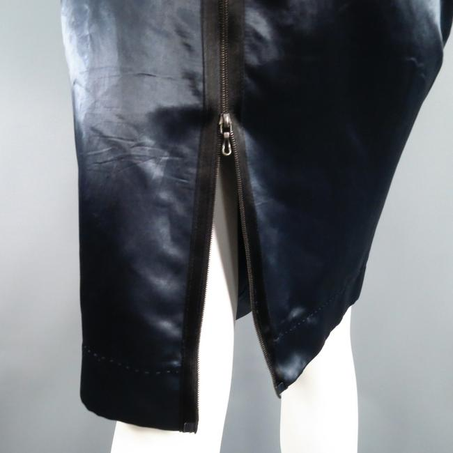 Lanvin Structured Satin Zipper Exposed Skirt Navy Image 5