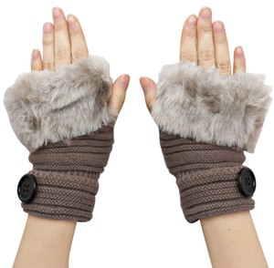 Khaki Knitted Fur Trimmed Fingerless Button Accent Gloves