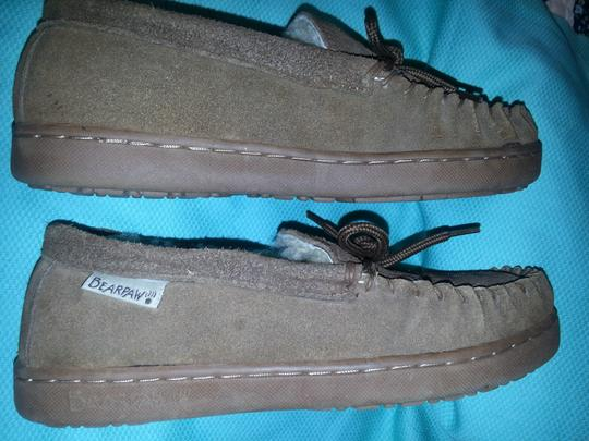 Bearpaw Moccasin Sheepskin Leather Suede brown Flats