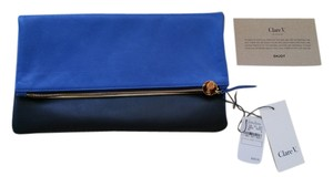 Clare V. Clare Vivier Fold Over Blue and Navy Clutch