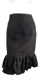 Lanvin Silk Ruffle Pencil Skirt Black